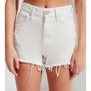 BDG High Waisted White Denim Shorts 24